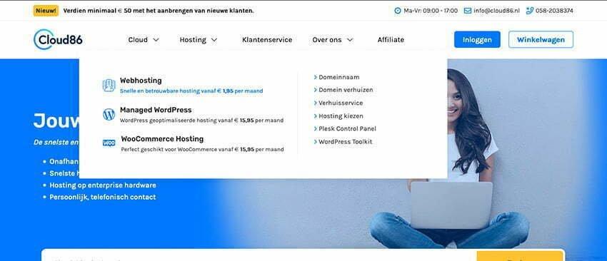 Zakelijke e-mail bestellen bij Cloud86