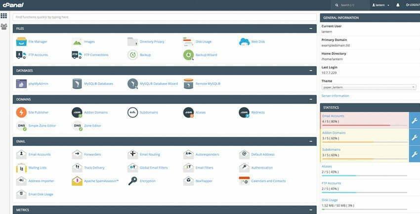 cPanel - screenshot